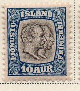 Iceland Sc  O34 1907 10 aur 2 Kings Official stamp mint