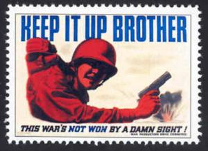 Patriotic WW2 Poster Stamp - Keep It Up Brother - Cinderella