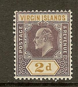Virgin Islands, Scott #31, 2p King Edward VII, F-VF Ctr, MH