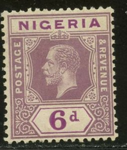 NIGERIA Sc#7 SG#7 1914 6p dull vio & red vio OG Mint Hinged