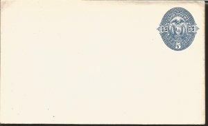 J) 1890 ECUADOR, 5 CENTS BLUE, EAGLE, FLAG, POSTAL STATIONARY, XF