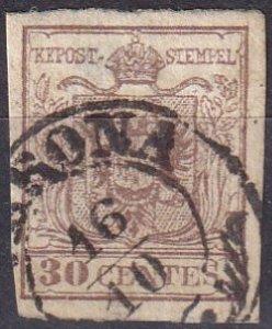 Austria  Lombardy-Venetia #5 F-VF  Used CV $26.50 (Z7961)