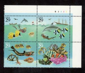 2863-6 Wonders Of The Sea Plate Block Mint/nh FREE SHIPPING