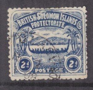 SOLOMON ISLANDS, 1907 Large Canoe, 2d. Indigo, used.