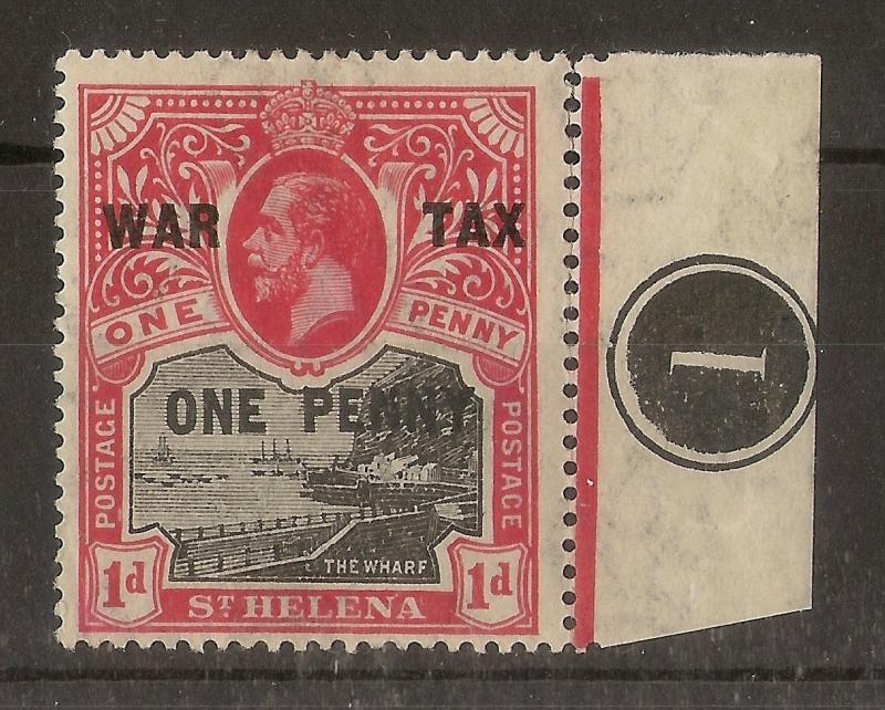 St Helena 1916 1d War Tax Opt Plate 1