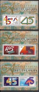 United Nations 1990 45th Anniversary of UN Souvenir Sheets sc# n579 g190 v105
