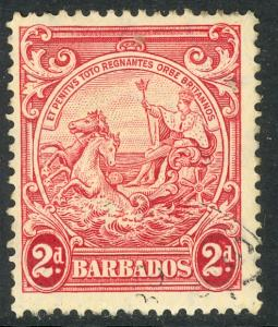 BARBADOS 1938-47 KGVI 2d Rose Lake BADGE OF COLONY Issue Sc 195A VFU