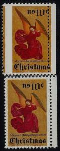 1550 - 10c Right Margin Misperf Error / EFO Christmas Angel Mint NH
