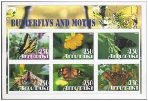 AITUTAKI SHEET IMPERF CINDERELLA BUTTERFLIES INSECTS