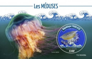 Togo Stamps 2019 .- Jellyfish (Cotylorhiza tuberculata). Blok. Imperf.