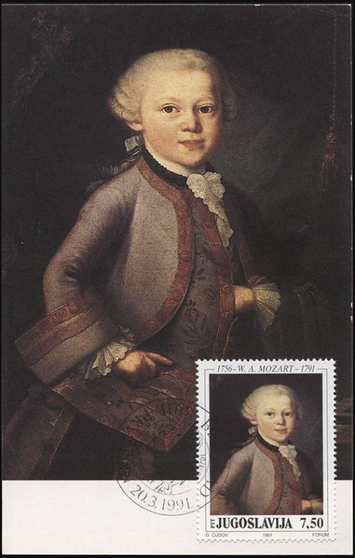 Yugoslavia. 1991. 200-anniversary of the death of V. A. Mozart (Maximum Card, M)