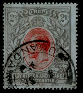 EAST AFRICA and UGANDA GV SG54, 2r red and black/blue, USED. Cat £40.