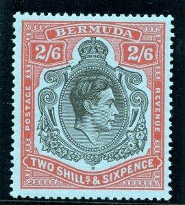 Bermuda 1941 KGVI 2s 6d black & carmine/pale blue superb MNH. SG 117b var.