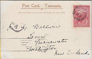 TASMANIA 1905 postcard Hobart to New Zealand - view of Cape Raoul..........53732