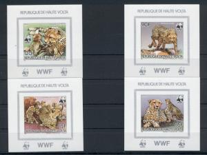 Animals Cheetah Wild Cats WWF Fauna Upper Volta 1984 6 imperf de-luxe sheets