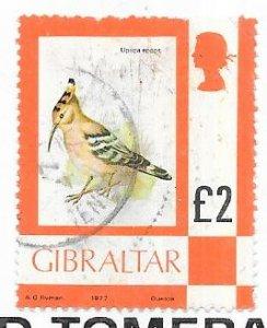 Gibraltar #355  £2 Hoopoe Bird  (U)  CV$5.80