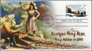 A0-3235, 1998, Gold Miners, FDC, SC 3235,  Add on Cachet, Klondike Gold Rush