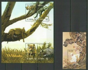 QF2265 ST. KITTS FAUNA WILD CATS TIGERS LEOPARDS LIONS ANIMALS MONKEYS KB+BL FIX