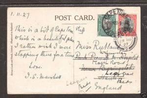 South Africa Sc 23a, 24a on 1927 PAQUEBOT PPC 1;0