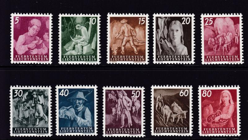 Liechtenstein  1951 New Definitive Scenes  VF+/NH(**)