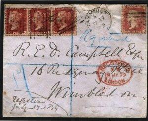 GB SCOTLAND Cover Argyllshire Very Rare NUMERAL *328* Taynuilt Reg 1879 J72c