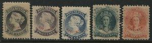 Nova Scotia QV 1860 1 cent to 10 cents Reprints overprinted SPECIMEN