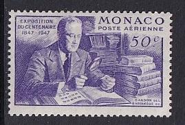 Monaco  #C16    MH   1947   Franklin Roosevelt with stamp collection