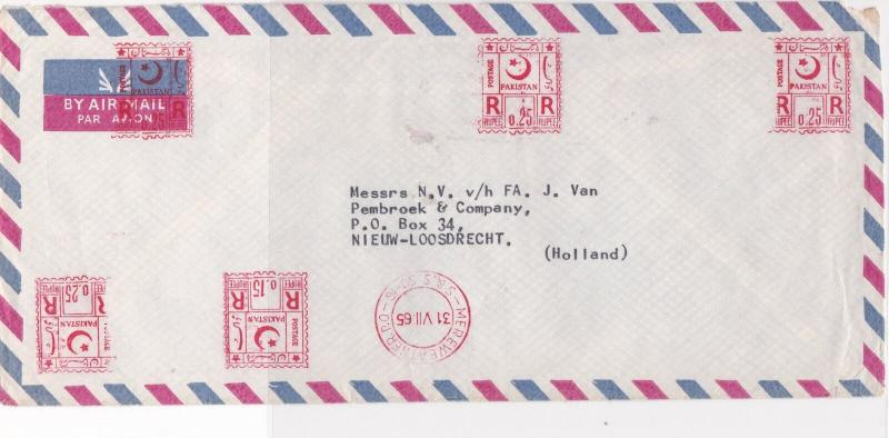 Pakistan 1965 Mereweather P.O. Cancel Meter Mail Airmail Stamps Cover Ref 29341
