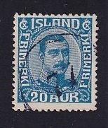 Iceland    #118  used   1920  Christian X   20a  blue
