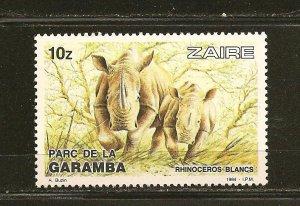 Zaire Rhinoceros 1984 Issue MNH