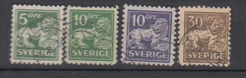 J25619 JLstamps 1920-6 sweden used #126-9 perf 10 lions