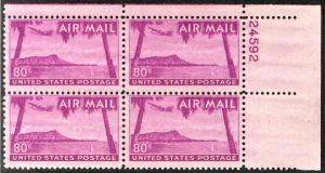 US #C46 PLATE BLOCK, VF/XF mint never hinged,  post office fresh,  super sele...
