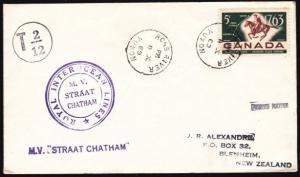 CANADA 1969 ship cover to NZ : ROSS RIVER / YUKON cds.......................5256