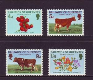 Guernsey Sc 33-6 1970 Cow Agriculture fFlower stamps NH