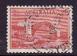 Australia-Sc#133-used 2p red Sydney Bridge-1932-