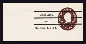 US SCOTT #U535 (1951) CUT PRECANCELED SEC. 34.66 P. L. & R. WILMINGTON DEL