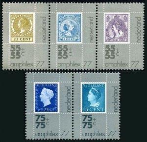 Netherlands B522-B526a, MNH. Stamp on stamp.Netherlands #41,64,155,294,220, 1976
