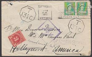 AUSTRALIA 1941 Taxed censor cover to USA - scarce instructional mark.......57253