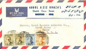 Iraq 8f, 10f and 20f (2) King Faisal II 1955 Baghdad Airmail to North Wales, ...