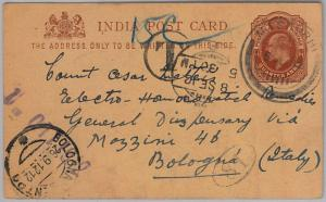 INDIA -  POSTAL STATIONERY CARD: from MASAURHI to ITALY - TAEXD 1912