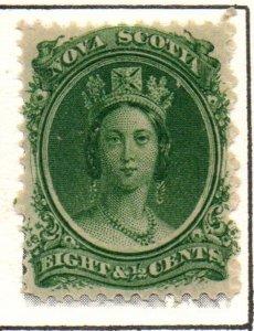Nova Scotia Sc 11 1860 8 1/2c green Victoria stamp mint