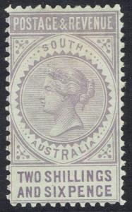SOUTH AUSTRALIA 1886 QV POSTAGE AND REVENUE 2/6 PERF 10