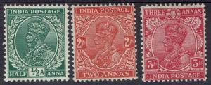 INDIA 1932 KGV 1/2A 2A AND 3A WMK MULTI STARS