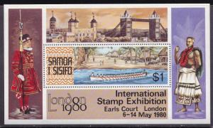 Samoa 1980 $1.Stamp in Small Souvenir Sheet for London'80 Stamp Show VF/NH