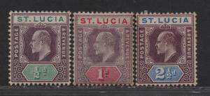 $St.Lucia Sc#43,44,46 M/H/F-VF, part. set, toning, Cv. $51