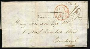 GB SCOTLAND 1820 entire ex Island of EASDALE - fine boxed CLACHAN..........33413