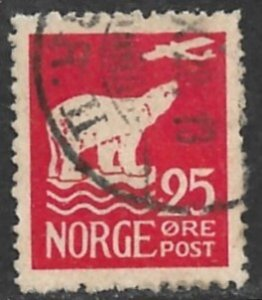 NORWAY 1925 25o POLAR BEAR and Airplane Issue Sc 110 VFU