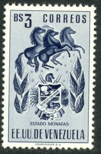 VENEZUELA 1953-54 3b ARMS OF MONAGAS and HORSES Issue Sc 582 MNH