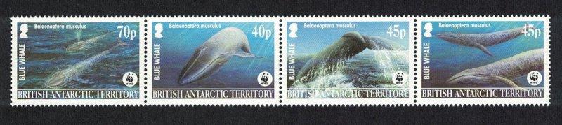 BAT WWF Blue Whale Strip of 4v 2003 MNH SG#361-364 MI#353-356 SC#326-329