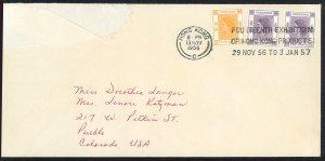 Hong Kong QEII Cover to Calorado, USA with solgan cancallation (1956)